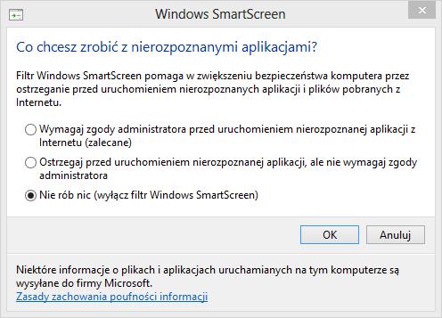Ustawienia Windows SmartScreen