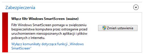 Wyłączanie komunikatu o filtrze Windows SmartScreen